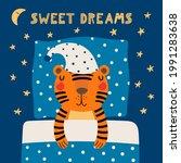 cute funny sleeping tiger in...   Shutterstock .eps vector #1991283638