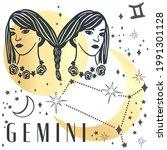 zodiac sign gemini in boho...   Shutterstock .eps vector #1991301128
