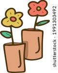 flowers in a pot gardening...   Shutterstock .eps vector #1991303492