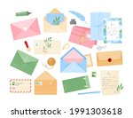 vector set of envelopes with... | Shutterstock .eps vector #1991303618