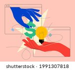 money for ideas or sell idea or ... | Shutterstock .eps vector #1991307818