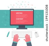 writing an article for blog on... | Shutterstock .eps vector #199131008