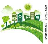 green modern city living... | Shutterstock .eps vector #199135325