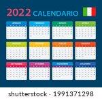 2022 calendar   vector template ... | Shutterstock .eps vector #1991371298