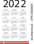 2022 calendar   vector template ... | Shutterstock .eps vector #1991383805