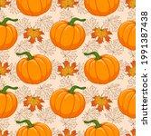 cartoon orange pumpkin and... | Shutterstock .eps vector #1991387438