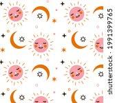 sun pattern. summer yellow ... | Shutterstock .eps vector #1991399765
