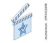 movie clapper  star check mark. ... | Shutterstock .eps vector #1991412698