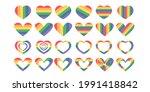 pride flag heart shape icon set ... | Shutterstock .eps vector #1991418842