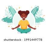 black girl meditating in lotus...   Shutterstock .eps vector #1991449778
