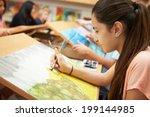 female pupil in high school art ... | Shutterstock . vector #199144985