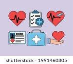 health heartbeat emergency kit... | Shutterstock .eps vector #1991460305