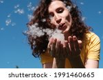 Girl blows poplar fluff off her hands. Fluff flies in different directions