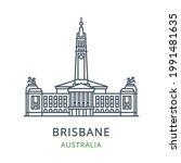 brisbane city  australia. line... | Shutterstock .eps vector #1991481635