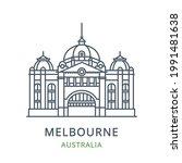 melbourne city  australia. line ... | Shutterstock .eps vector #1991481638