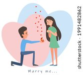 a postcard of a couple in love. ... | Shutterstock .eps vector #1991482862
