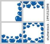 3d blue heart square card set  | Shutterstock .eps vector #1991512898
