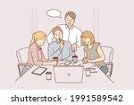 team  brainstorm  collaboration ... | Shutterstock .eps vector #1991589542