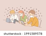 online education during covid... | Shutterstock .eps vector #1991589578