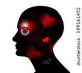 human head with  gears heart... | Shutterstock . vector #199161452