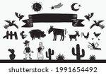 Woodcut Style. Farm Animals ...