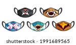 face masks with scary animal...   Shutterstock .eps vector #1991689565
