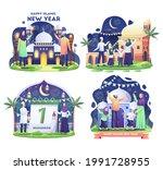 set bundle of muslim family... | Shutterstock .eps vector #1991728955