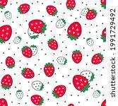 strawberry seamless vector...   Shutterstock .eps vector #1991729492