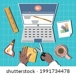 video teaching diy hands with... | Shutterstock .eps vector #1991734478