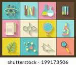 set of flat education icons for ... | Shutterstock .eps vector #199173506