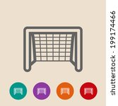 soccer goal flat icon.  on...