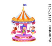 a carousel with swings  vector... | Shutterstock .eps vector #1991774798
