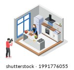 cooking show isometric... | Shutterstock .eps vector #1991776055