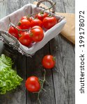 fresh tomatoes and salad on old ... | Shutterstock . vector #199178072