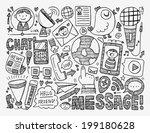 doodle communication background | Shutterstock .eps vector #199180628