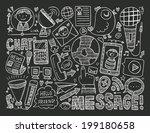 doodle communication background | Shutterstock .eps vector #199180658