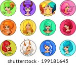 cartoon illustrated colorful...   Shutterstock . vector #199181645