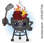 Barbacoa Grill personaje de dibujos animados con actitud