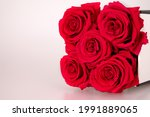 Red Infinity Roses On The White ...