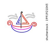 illustration of sailboat with... | Shutterstock .eps vector #1991921045