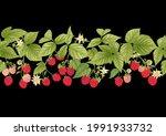 raspberry. ripe berries on... | Shutterstock .eps vector #1991933732