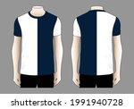 sport t shirt white navy blue... | Shutterstock .eps vector #1991940728