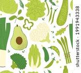 green vegetables pattern.... | Shutterstock .eps vector #1991943338