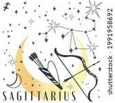 zodiac sign sagittarius in boho ... | Shutterstock .eps vector #1991958692