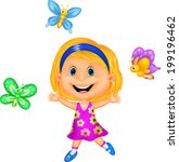 happy little girl with colorful ... | Shutterstock .eps vector #199196462
