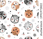 owlets. cute owls  stars and... | Shutterstock .eps vector #1991972822