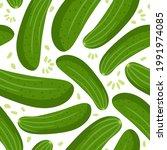 cucumbers seamless pattern.... | Shutterstock .eps vector #1991974085