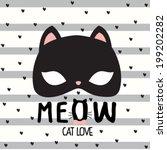 lovely cat mask.seamless...   Shutterstock .eps vector #199202282