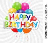 happy birthday card ... | Shutterstock . vector #199205846