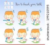 instructions on how to brush... | Shutterstock .eps vector #199210595